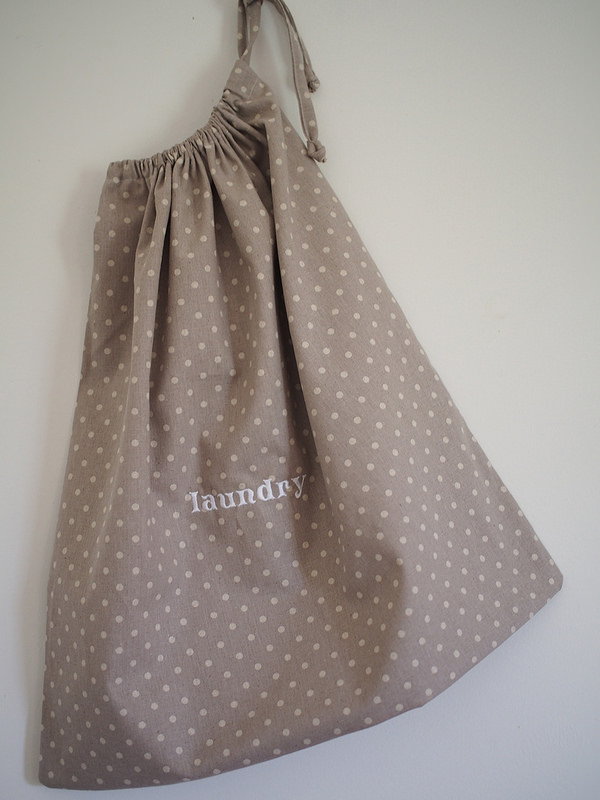 embroidered linen laundry bag